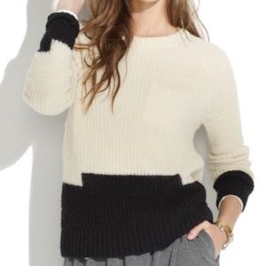 Madewell Colorstep Open Knit Sweater Ivory Black M